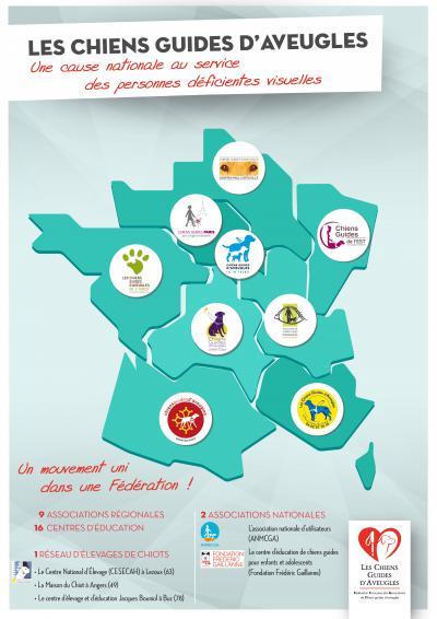 La carte du mouvement chien guide présentant toutes les écoles de chiens guides par régions avec pour chacune leur logo.